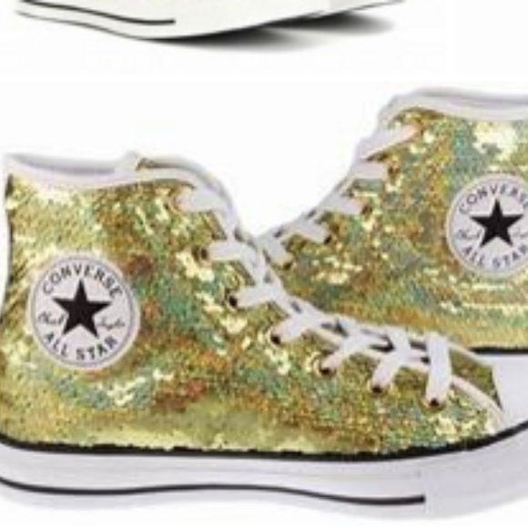 converse Shoes - NEW GOLD SEQUINED CONVERSE HIGH TOP 6.5 new 7e9191ac5